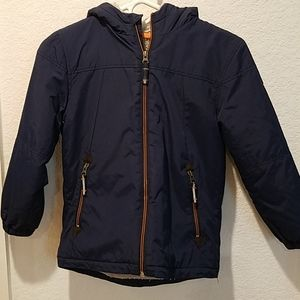 Mini Boden Fleece thick Boys navy jacket Sz 7-8 yr